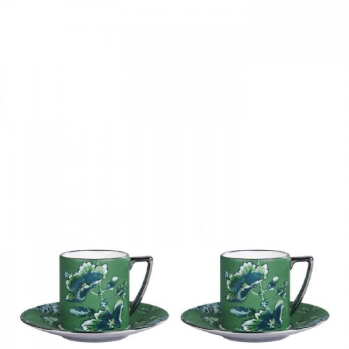 Jasper Conran Chinoiserie Green Espresso Cup and Saucer (Set of 2), Gift Boxed
